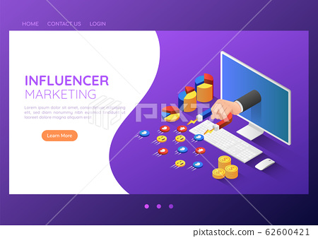 Isometric web banner businessman hand with magnet 62600421