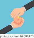 Isometric businessman hand protecting piggy bank 62600423