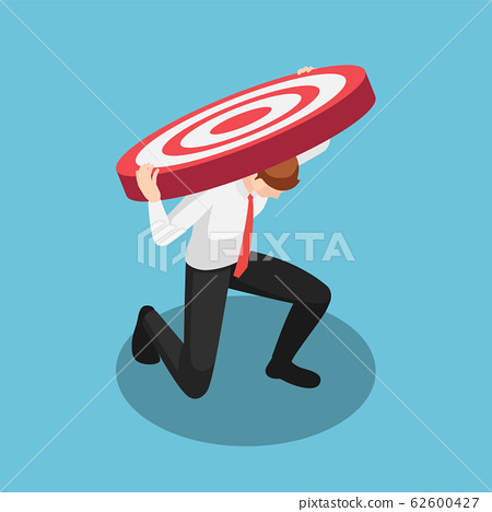Isometric businessman carry very big target than 62600427