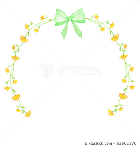 Watercolor Illustration Of Yellow Flowers Wreath 62601570