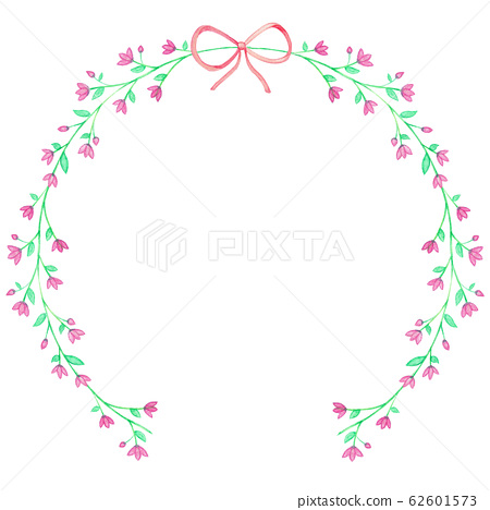 Purple Watercolor Floral Wreaths and ribbon 62601573