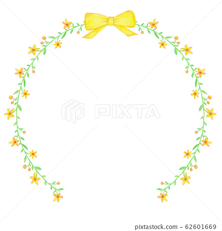 Wreath of watercolor yellow spring flowers and ribbon 62601669