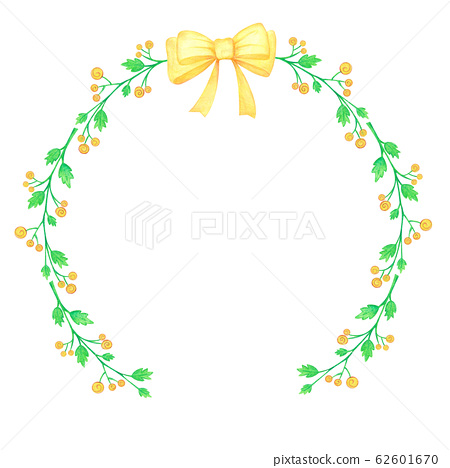 Floral Wreath Yellow Flowers Watercolor and Ribbon 62601670