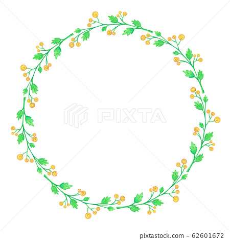 Floral Wreath Yellow Flowers Watercolor 62601672