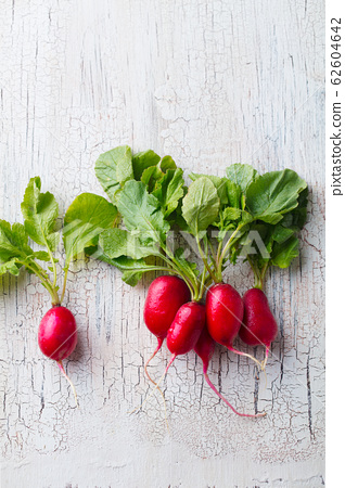 Radish on white wooden background. Copy space. Top view. 62604642