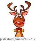 Funny cartoon red nose reindeer.  Christmas vector 62605217
