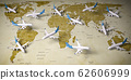 Airplanes on world  map. Airline flight routes and 62606999