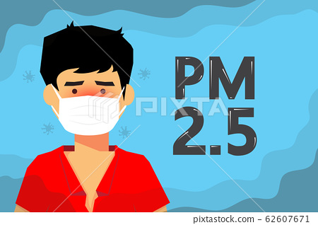 Bad weather, boys wear masks to protect them from small dust. 62607671