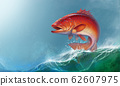 Coral trout on against the backdrop of sea waves. Leopard coral groupe, or leopard coral trou realistic illustration. 62607975