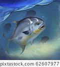 Permit fish on white Trachinotus blochii. Permit fish on underwater realistic illustration background. 62607977