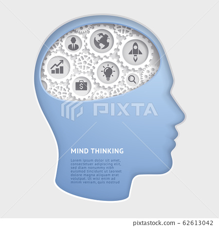 Man head mind thinking with gear symbol paper cut vector illustrations. 62613042