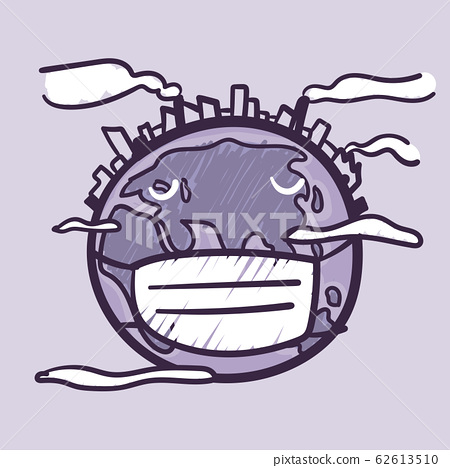 The world is full of dust, smoke, pollution hand drawn doodle cartoon. Ecology care and eco friendly concept. 62613510