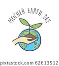 Hand drawn mother earth day. Human hands holding plant. Environmental care and social responsibility doodle. 62613512