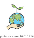 Human hands holding globe with plant on it environmental care and social responsibility doodle. Earth icon hand-drawn on white background. 62613514