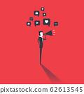 Businessman holding megaphone with social media bubble. Social media concept. 62613545