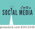 Social media concept with business man looking through telescope from a cliff. 62613546