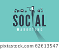 Social marketing concept with business man looking through telescope. 62613547