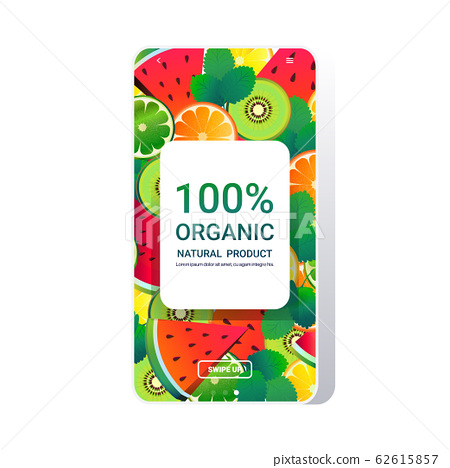 natural healthy organic product fresh food online mobile app smartphone screen fruits background copy space 62615857