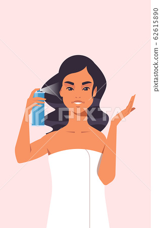 young woman applying hair spray dressed in towel girl haircare spa relax treatment concept portrait 62615890