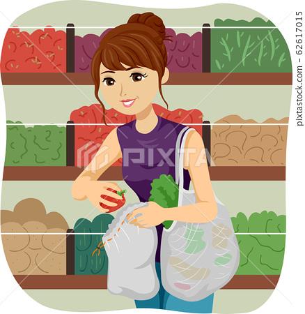 Teen Girl Bulk Shop Net Bag Illustration 62617015