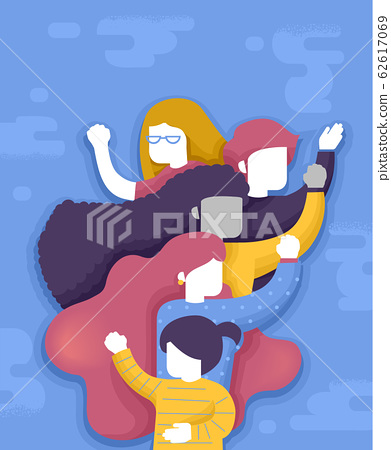 Woman Group Empowered Illustration 62617069