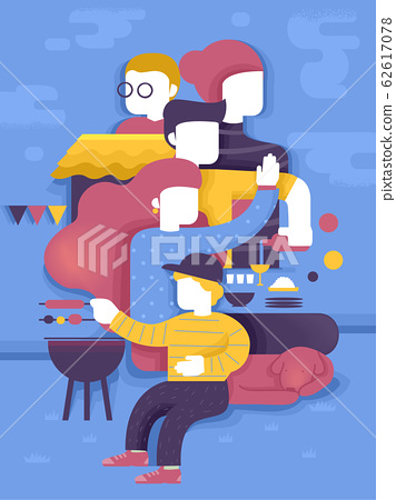 Family Food Barbecue Get Together Illustration 62617078