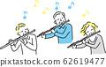 Senior hobby friend Flute Simple illustration Shimojira 62619477