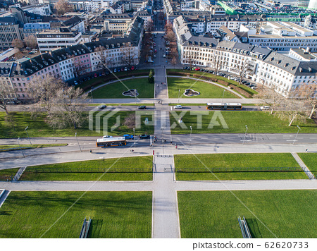Koblenz City in Rhineland Palantino - Germany - aerial shot of historic German palace Building wit hhuge park 62620733