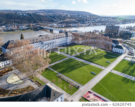 Koblenz City in Rhineland Palantino - Germany - aerial shot of historic German palace Building wit hhuge park 62620745
