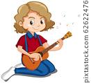 Cute girl playing ukulele on white background 62622476