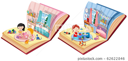 Two books with bedroom scene on white background 62622846