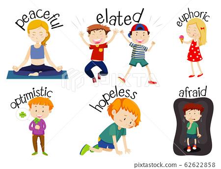 Set of children doing activities with adjectives 62622858