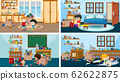 Four scenes with kids playing and reading in 62622875