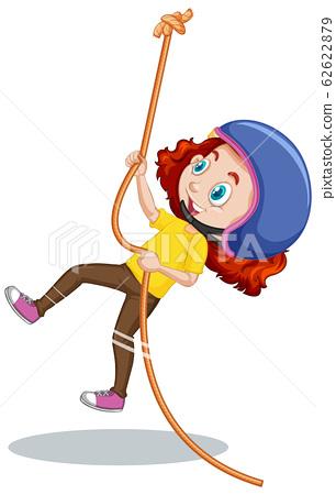 Girl climbing rope on white background 62622879