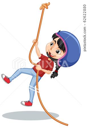 Girl climbing rope on white background 62622880