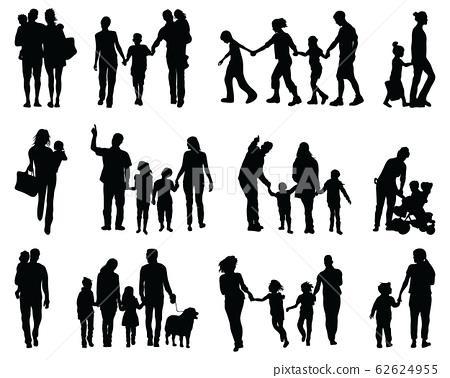 family, silhouette, vector 62624955
