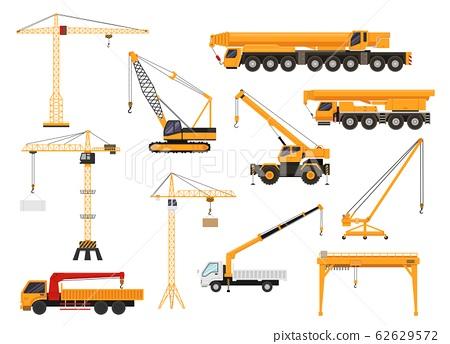 set of construction cranes in flat style.... - stock illustration  [62629572] - pixta  pixta