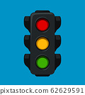 cartoon traffic light on blue 62629591