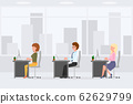 Cute, funny business colleagues sitting at desk, typing on computer, desktop, laptop vector illustration. Man and woman coworkers in office interior cartoon character set on cityscape background 62629799