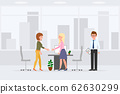 Two woman hands shaking meeting appointment with man assistant vector illustration. Partners making negotiation deal at office interior cartoon character set on cityscape background 62630299