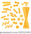 Pasta set isolated on white, different kinds of macaroni and spaghetti uncooked, vector illustration 62632493