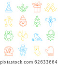 Christmas decorative elements for winter holidays. Christmas icons, thin line style, flat design. Unique illustration for t-shirts, banners, flyers and other types of business design. 62633664