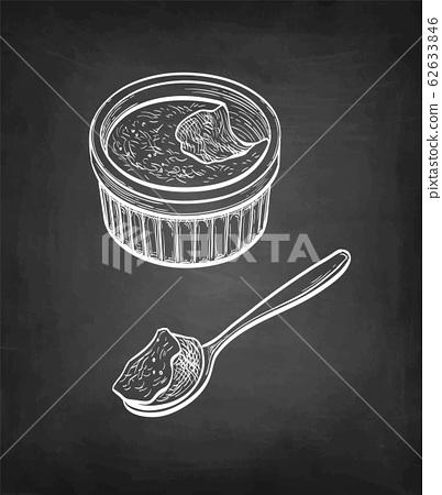 Chalk sketch of creme brulee. 62633846