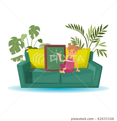 Little girl artist cartoon character draws with chalk on board vector illustration. Cute girl sits on sofa with pillows and home plants and drawing pictures. 62635106