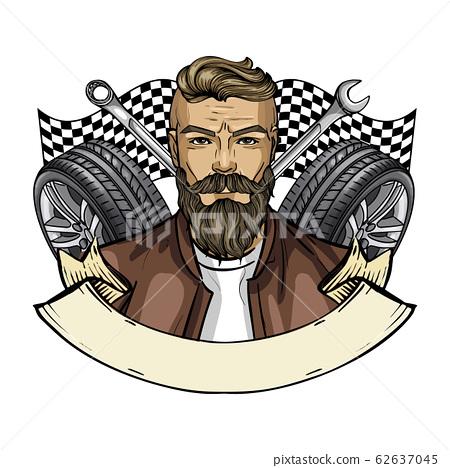 Hand drawn sketch racer man 62637045