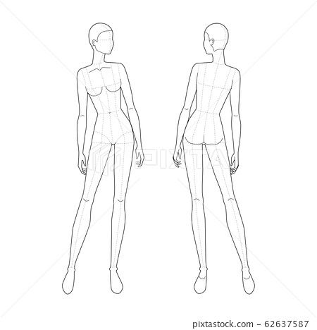 Fashion template of standing women.  62637587