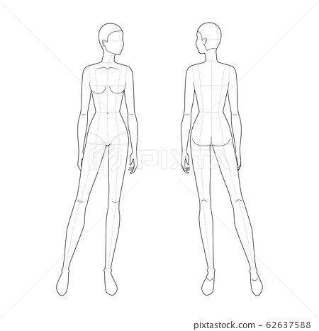 Fashion template of standing women.  62637588