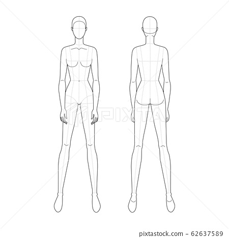 Fashion template of standing women.  62637589