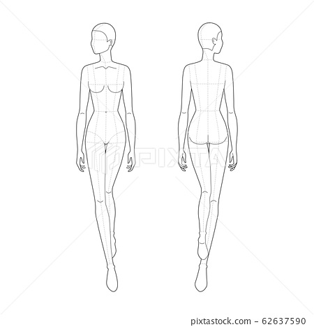 Fashion template of walking women.  62637590