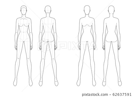 Fashion template of standing women.  62637591